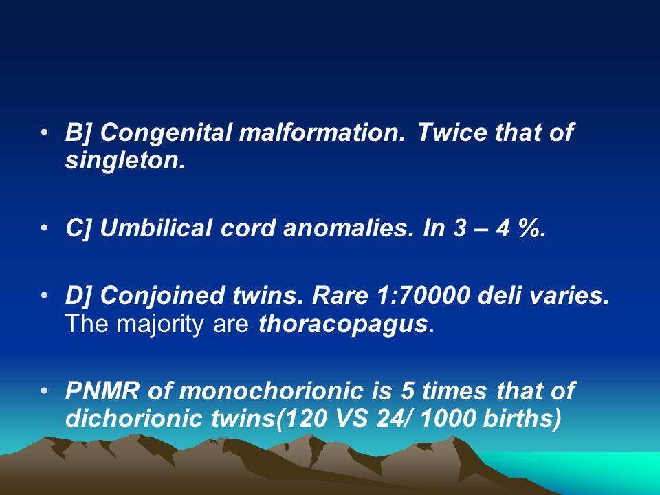 B] Congenital malformation. Twice that of singleton.